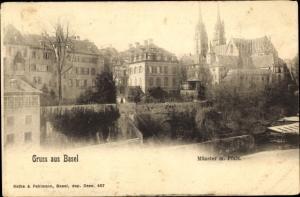 Ak Bâle Basel Stadt Schweiz, Münster mit Pfalz