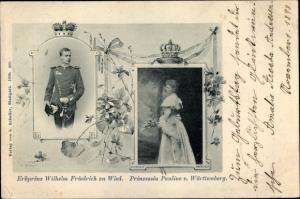 Ak Erbprinz Wilhelm Friedrich zu Wied, Prinzessin Pauline von Württemberg