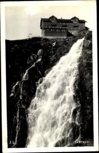 Ak Elbfallbaude, Labská bouda, Riesengebirge, Elbfall
