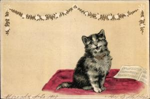 Litho Singende getigerte Katze, Notenheft