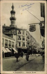 Ak Alexandria Ägypten, Attarine Street, Minarett, Geschäfte