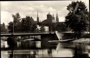Ak Wrocław Breslau Schlesien, Universitätsbrücke, Dominsel