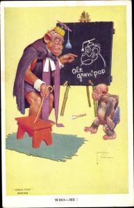 Künstler Ak Lawson, Wood, Affen, Lehrer und Schüler, Tafel