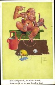 Künstler Ak Wood, Lawson, Affe mit Affenkind, Schnuller, Gießkanne