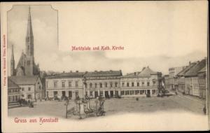 Ak Wołczyn Konstadt Oberschlesien, Marktplatz, Katholische Kirche