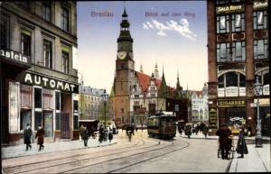 Ak Wrocław Breslau Schlesien, Blick auf den Ring, Straßenbahn, Automatenrestaurant, Salon Roth