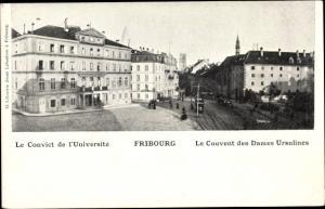 Ak Fribourg Freiburg Stadt Schweiz, Le Gouvent des Dames Ursulines, Convict de l'Université