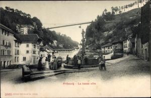 Ak Fribourg Freiburg Stadt Schweiz, La basse ville