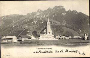 Ak Charmey Freiburg, Teilansicht mit Kirche