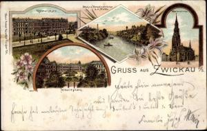Litho Zwickau in Sachsen, Marienkirche, Römerplatz, Albertplatz, Mulde
