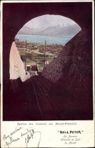 Ak Kt Waadt Schweiz, Sortie du tunnel au Mont Pélerin