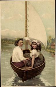 Litho Junge und Mädchen in einem Segelboot, Meissner Buch