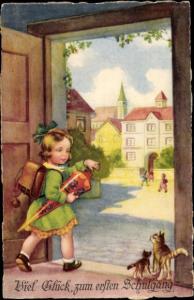 Ak Glückwunsch Einschulung, Mädchen mit Zuckertüte, Katzen