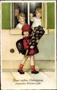 Ak Glückwunsch Einschulung, Mädchen mit Zuckertüte, Kinder am Fenster