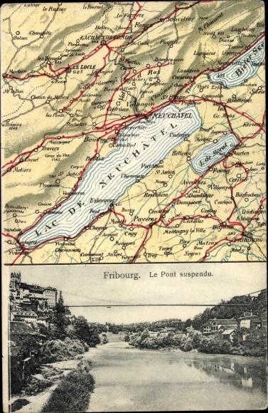 Landkarten Ak Fribourg Freiburg Stadt Schweiz, Le Pont suspendu 0