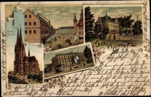 Litho Chemnitz in Sachsen, Carola Hotel, Bahnhof, Markt, Markus Kirche