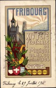 Wappen Litho Fribourg Freiburg Stadt Schweiz, XIV Fete Federale de Musique 1906