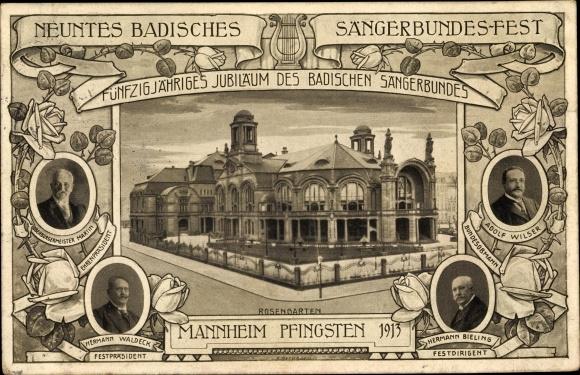 Ganzsachen Ak Mannheim, 9. Badisches Sängerbundesfest 1913, Rosengarten, Waldeck, Wilser, Bieling 0