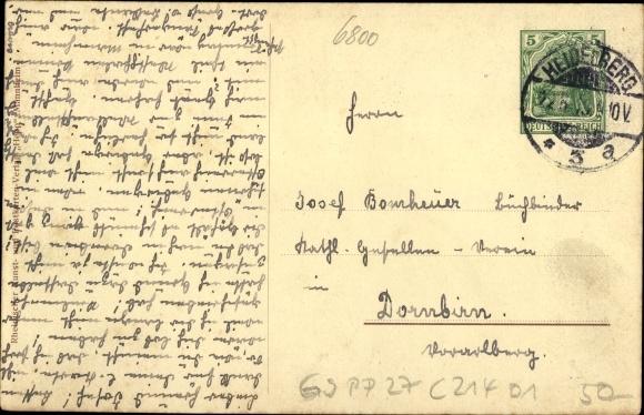 Ganzsachen Ak Mannheim, 9. Badisches Sängerbundesfest 1913, Rosengarten, Waldeck, Wilser, Bieling 1