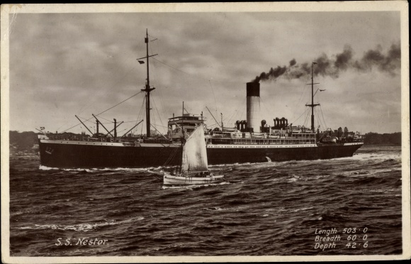 Ak Steamer Nestor, Dampfschiff, Blue Funnel Line 0