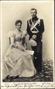 Ak Zar Nikolaus II. von Russland, Alexandra Fjodorowna, Alix von Hessen Darmstadt