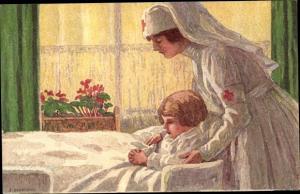 Ganzsachen Künstler Ak Schweiz, Bundesfeier 1921, Krankenschwester, Rotes Kreuz