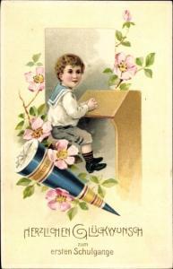Ak Glückwunsch Einschulung, Zuckertüte, Junge am Schreibpult, Blumen