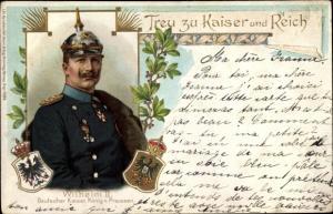 Wappen Ak Portrait Kaiser Wilhelm II., Treu zu Kaiser und Reich, Jugendstil