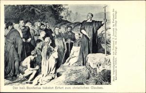 Ak Erfurt in Thüringen, Der heilige Bonifatius bekehrt Erfurt zum christlichen Glauben