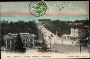 Ak Lausanne Kanton Waadt Schweiz, Le Pont Chauderon, Montbenon