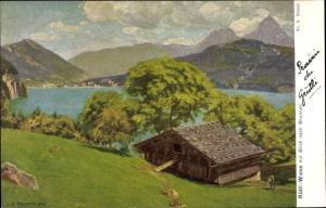 Ak Brunnen Kt Schwyz, Panorama, Rütli Wiese