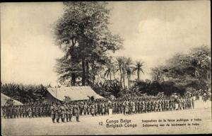 Ak DR Kongo Zaire, Inspection de la force publique a Irebu, Schouwing van de landmacht te Irebu