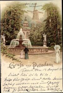 Litho Potsdam in Brandenburg, Historische Mühle bei Sanssouci, Springbrunnen
