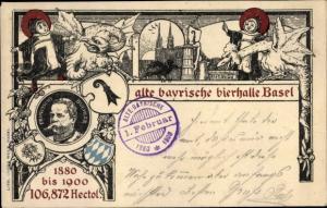 Litho Bâle Basel Stadt Schweiz, Alte Bayrische Bierhalle, Fabelwesen
