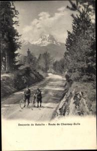 Ak Charmey Kanton Freiburg, Descente de Bataille, Route de Charmey Bulle