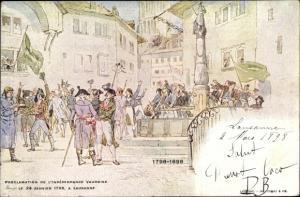 Künstler Ak Lausanne Kanton Waadt Schweiz, Proclamation de l'Indépendance vaudoise, 1798-1898
