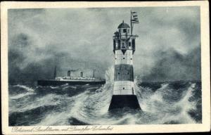 Künstler Ak Leuchtturm Roter Sand, Dampfschiff Columbus, Norddeutscher Lloyd Bremen