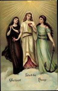 Litho Allegorie Glaube, Liebe, Hoffnung, Geloof, Liefde, Hoop, Frauen