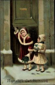 Präge Litho Glückwunsch Geburtstag, Kinder an der Haustür, Geschenk, EAS 16463