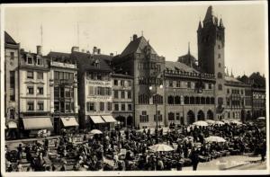 Ak Bâle Basel Stadt Schweiz, Marktplatz, Kaffee Rösterei