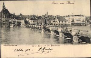 Ak Bâle Basel Stadt Schweiz, Panorama, alte Rheinbrücke