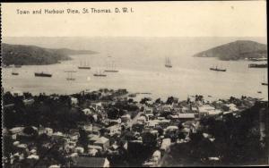 Ak Saint Thomas Amerikanische Jungferninseln, Town and Harbour View, Schiffe