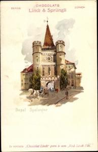Litho Bâle Basel Stadt Schweiz, Spalentor, Chocolats Lindt und Sprüngli, Reklame