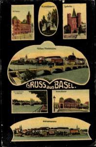 Ak Bâle Basel Stadt Schweiz, Rathaus, Spalentor, St Jakob Denkmal, Bundes Bahnhof, Rheinpanorama