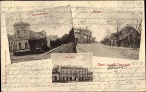 Ak Nesterow Stallupönen Ostpreußen, Bahnhof, Straßenseite, Bahnhofstraße