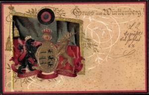 Präge Wappen Litho Gruß aus Württemberg, Fahne
