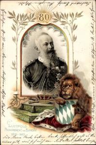 Wappen Litho Prinzregent Luitpold von Bayern, Portrait, Löwe