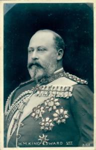 Glitzer Ak König Eduard VII. von England, Portrait