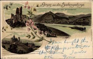 Litho Königswinter am Rhein, Ruine Drachenfels, Drachenburg, Panorama Rolandsbogen