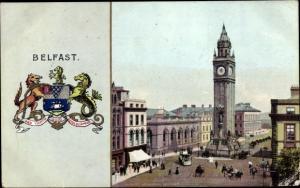 Wappen Ak Belfast Nordirland, Straßenpartie, Albert Memorial, Wappen